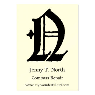 """Gothic Letter """"N"""" Classic English Initial Large Business Card"""