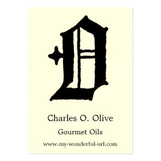 """Gothic Letter """"O"""" Classic English Initial Large Business Card"""