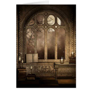 Gothic Library Window Greeting Card