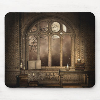Gothic Library Window Mouse Pad