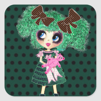Gothic Lolita girl emerald girly gifts Square Sticker