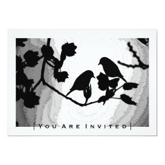 Gothic Love Birds Silhouettes Wedding Invitations