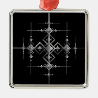 Gothic metallic pattern. Silver-Colored square ornament