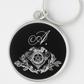 Gothic Monogram Pentacle Silver-Colored Round Keychain