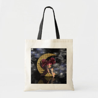 gothic moon fairy tote bag, cute gothic fairy