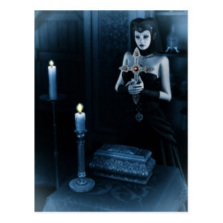 Gothic Nun holding cross Postcard