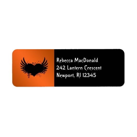 Gothic Orange, Black Return Address Label