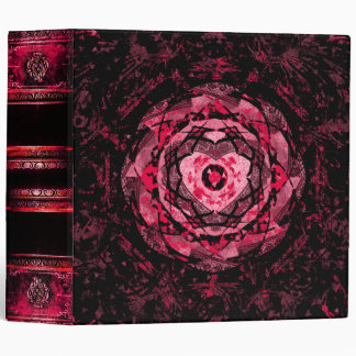 Gothic Pink and Black Heart Ancient Tome Vinyl Binders