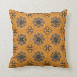 Gothic Pumpkin Orange Dusty Blue Mandala and Cross Throw Pillow