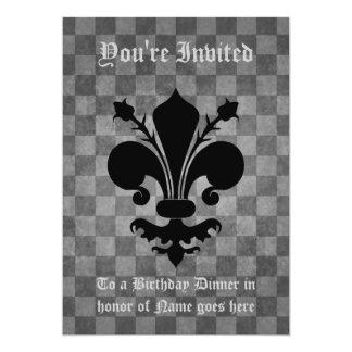 Gothic punk black fleur de lis Birhtday Dinner Card