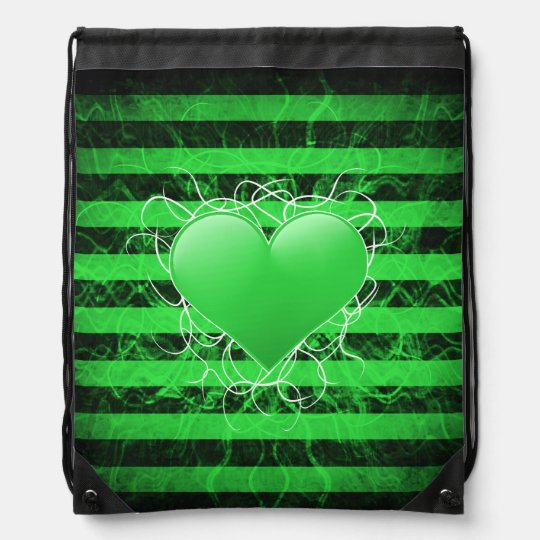 Gothic punk emo green heart with black stripes drawstring bags