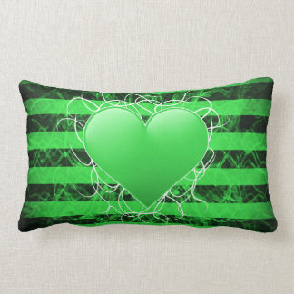 Gothic punk emo green heart with black stripes lumbar pillow