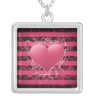 Gothic punk emo pink heart with black stripes personalized necklace