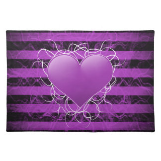Gothic punk emo purple heart with black stripes place mats