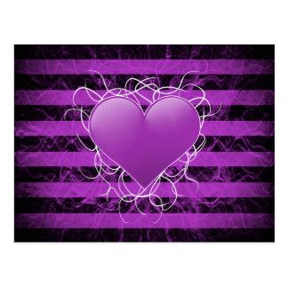 Gothic punk emo purple heart with black stripes postcard