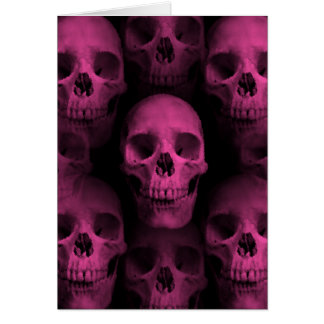 Gothic punk girly hot pink cute skull card