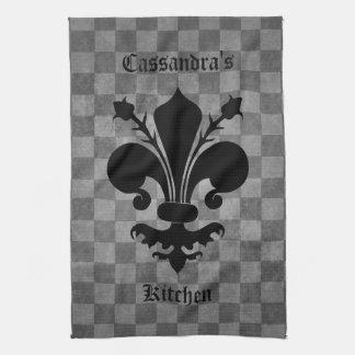 Gothic punk gray checkerboard black fleur de lis kitchen towel