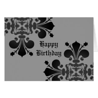 Gothic punk royal fleur de lis damask black gray card