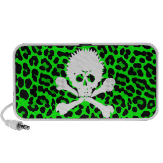 Gothic Punk Skull Green leopard print Travelling Speaker