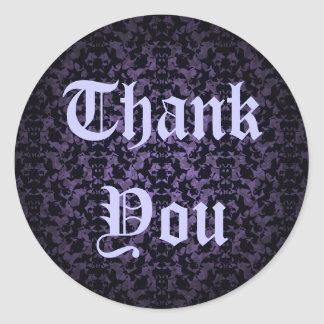 Gothic purple and black wedding Thank you stickers