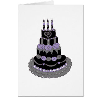 Gothic Purple Birthday Cake Card