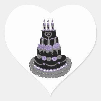 Gothic Purple Birthday Cake Heart Sticker