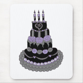 Gothic Purple Birthday Cake Mouse Pad