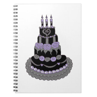 Gothic Purple Birthday Cake Spiral Note Books