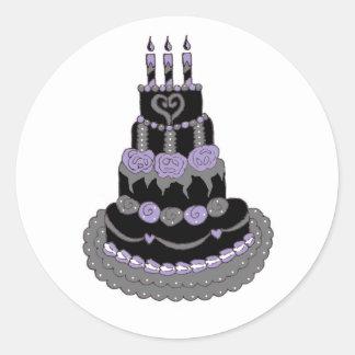 Gothic Purple Birthday Cake Round Sticker