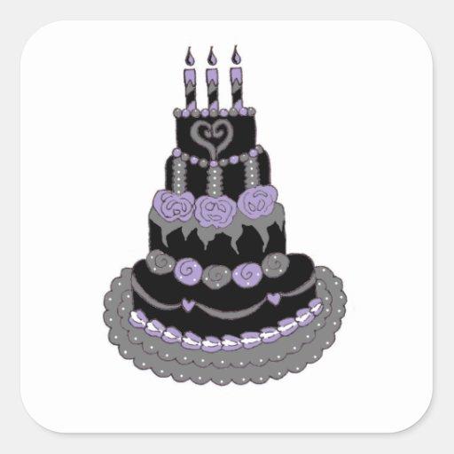 Gothic Purple Birthday Cake Square Sticker