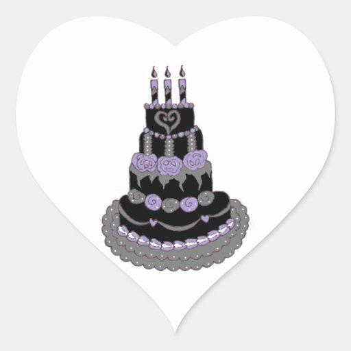 Gothic Purple Birthday Cake Stickers
