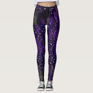 Gothic Purple Feather leggings