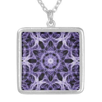Gothic Purple Lace Fractal Silver Plated Necklace