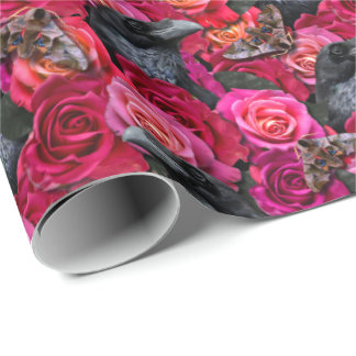 Gothic Raven Nevermore with Roses and Hawk Moths Wrapping Paper