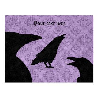 Gothic ravens black and purple postcard