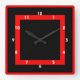 gothic red and black geometrical clock