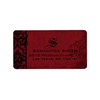 Gothic Red Black Damask Wedding Labels