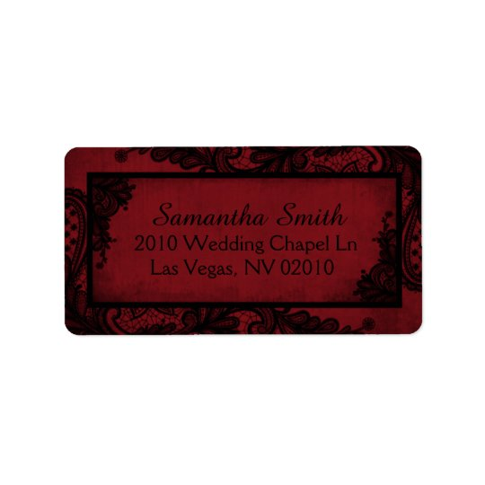 Gothic Red Black Lace Grunge Wedding Labels