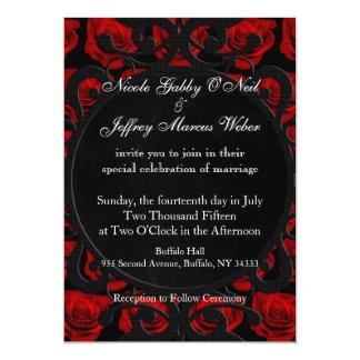 Gothic Red Roses Victorian Wedding Invitation