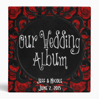 Gothic Red Roses Victorian Wedding Photo Album Vinyl Binder