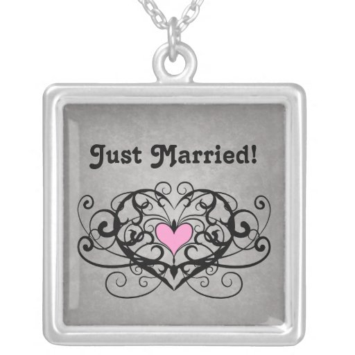 Gothic romance swirls and hearts just married custom jewelry