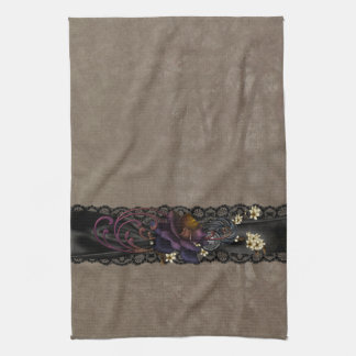Gothic Rose and Black Lace Kitchen Towel