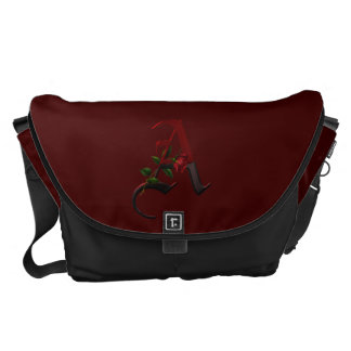Gothic Rose Monogram A Courier Bags