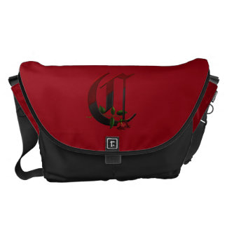 Gothic Rose Monogram C Messenger Bags