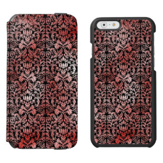 Gothic Rose Red Black Damask Incipio Watson™ iPhone 6 Wallet Case