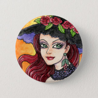 Gothic Rose Witch Fantasy Button by Ann Howard