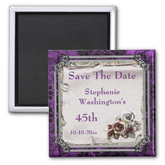 Gothic Roses & Black Damask 45th Save The Date Square Magnet