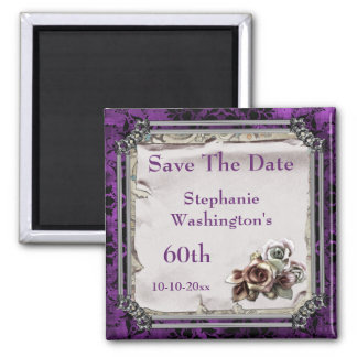 Gothic Roses & Black Damask 60th Save The Date Square Magnet