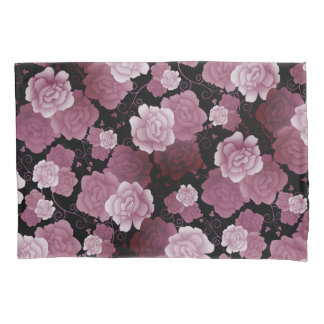 Gothic Roses & Vines in Muted Purple & Black Pillowcase