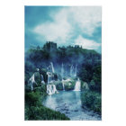 Gothic Ruin Waterfall Poster